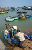 Transportation People And Goods By Wooden Boat At Habor