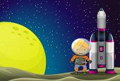 stock photo of chemical weapon  - Illustration of an astronaut standing beside the rocket near the moon - JPG
