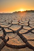 foto of water shortage  - dry cracks in the land, serious water shortages