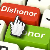stock photo of morals  - Dishonor Honor Computer Showing Integrity And Morals - JPG