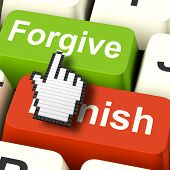 stock photo of punish  - Punish Forgive Computer Showing Punishment or Forgiveness - JPG
