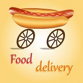 stock photo of meals wheels  - Hot dog on wheels as idea of fast food delivery - JPG