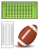 picture of football field  - American Football pitch and ball with outline - JPG