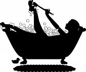 image of bubble-bath  - silhouette graphic depicting a woman taking a bubble bath - JPG