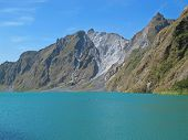 foto of luzon  - Adventurers enjoy a swim in the gorgeous crater lake left by the deadly Mt - JPG