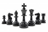 pic of chess pieces  - Front view of chess pieces isolated on white background - JPG