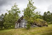 stock photo of laplander  - Really old wooden shed in Lapland Sweden - JPG