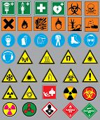 stock photo of chemical weapon  - Vector of 38 safety warnings and label signs - JPG