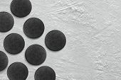 picture of hockey arena  - Hockey puck lying on the ground - JPG