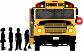 image of school child  - vector silhouette graphic depicting children boarding a school bus  - JPG