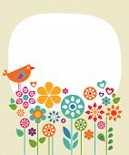 stock photo of gift basket  - Easter card template with flowers and a bird - JPG