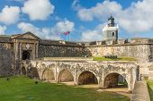 stock photo of san juan puerto rico  - Entrance to fort San Felipe del Moro - JPG