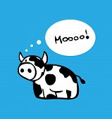 foto of bobble head  - Cartoon cow card poster design with speech bobble - JPG