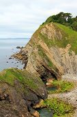 foto of sedimentation  - rocky coast lulworth with sediment jurassic coast dorset - JPG