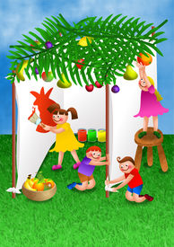 picture of tabernacle  - A digitally created colourful cartoon illustration of a group of happy children making their own tent in preparation for the celebration of the Jewish festival - JPG