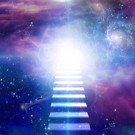 stock photo of step-up  - Steps up into cosmos - JPG