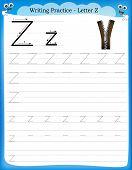 foto of kindergarten  - Writing practice letter Z printable worksheet with clip art for preschool  - JPG
