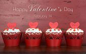 pic of red velvet cake  - Happy Valentines Day row of red velvet cupcakes with love messages and sample text on red wood background - JPG