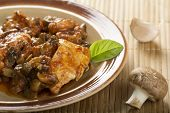image of chickens  - Chicken breast in a rich sweet sauce with marsala chicken stock and mushrooms - JPG