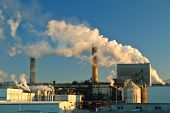 stock photo of belching  - factory belching out pollution - JPG