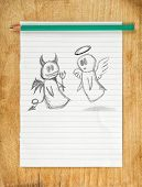 pic of morals  - Doodle drawing of angel and devil on white paper as concept of conscience and moral dilemma in fight of good and evil - JPG