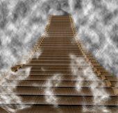 stock photo of log fence  - Log bridge in the fog 3d render - JPG