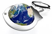stock photo of handcuffs  - one earth globe with handcuffs concept of lack of freedom or oppression  - JPG