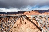 stock photo of southwest  - Navajo Bridge over Colorado river in Marble canyon - JPG