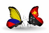 picture of papua new guinea  - Two butterflies with flags on wings as symbol of relations Columbia and Papua New Guinea - JPG