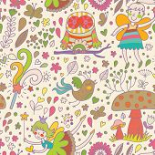 picture of fairy-mushroom  - Awesome childish seamless pattern with Fairies - JPG