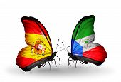 picture of spanish money  - Two butterflies with flags on wings as symbol of relations Spain and Equatorial Guinea - JPG