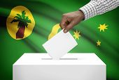 picture of coco  - Ballot box with national flag on background  - JPG