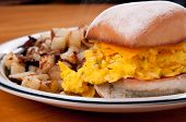 picture of baps  - egg and cheese on a toasted bap with pan fried potatoes - JPG