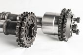 pic of combustion  - The camshafts with the gears of the combustion engine - JPG