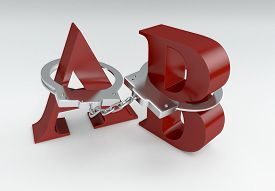 image of freedom speech  - letters a and b with handcuffs concept of lack of freedom of speech  - JPG