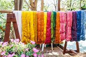picture of silk worm  - Multicolored silk fabric weaving is awaiting adoption - JPG