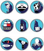foto of treasure map  - Nautical elements III icons in knotted circle including seahorse - JPG