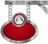 picture of food chain  - Oval metallic sign with red velvet and frame white empty plate with silver cutlery - JPG