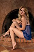 image of chemise  - Beautiful tall Russian blonde in a blue chemise - JPG