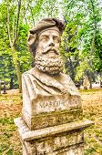 stock photo of garden sculpture  - Bust statue of Marco Polo  - JPG