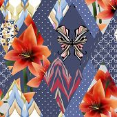 foto of lillies  - Patchwork seamless floral orange lilly pattern texture background with decorative elements - JPG