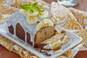 foto of chocolate-chip  - Banana bread with chocolate chips on wooden table - JPG