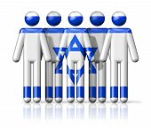 stock photo of israel people  - Flag of Israel on stick figure  - JPG