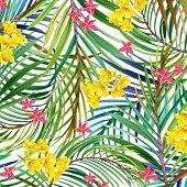 image of jungle flowers  - Tropical leaves - JPG