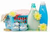 pic of detergent  - Detergent and towels in basket isolated on white background - JPG