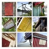 pic of chalet  - Rustic wooden huts and chalets on a collage - JPG