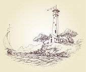 picture of watersports  - Lighthouse vector drawing - JPG