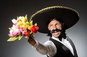 stock photo of sombrero  - Mexican man wears sombrero isolated on white - JPG