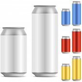 foto of cans  - Blank beer of soft drink aluminum can vector template with color variants - JPG