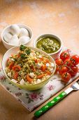 picture of pesto sauce  - vegetarian couscous with mozzarella tomatoes and pesto sauce - JPG